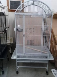 dome topped parrot cage white/grey