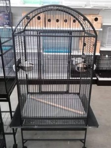 dome topped parrot cage black